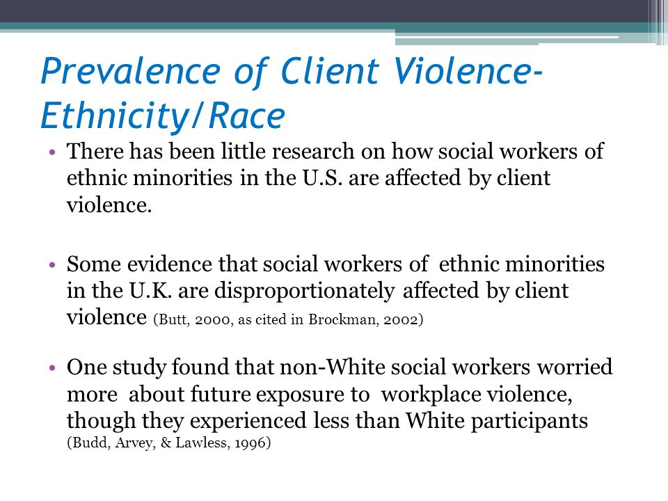 Prevalence of Client Violence- Ethnicity/Race
