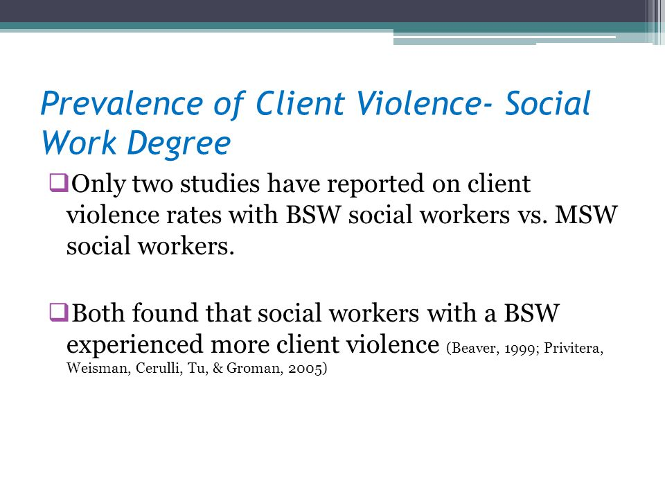 Prevalence of Client Violence- Social Work Degree