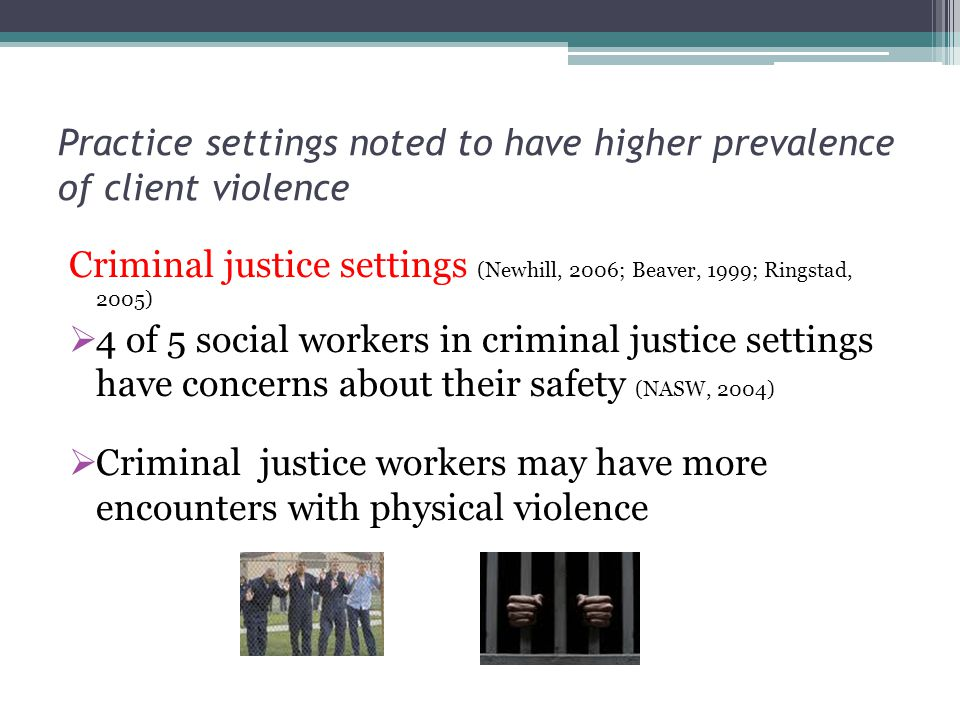 Practice settings noted to have higher prevalence of client violence