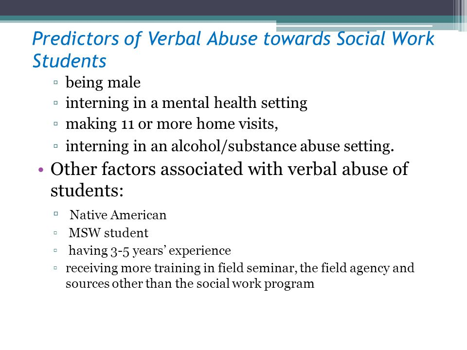 Predictors of Verbal Abuse towards Social Work Students
