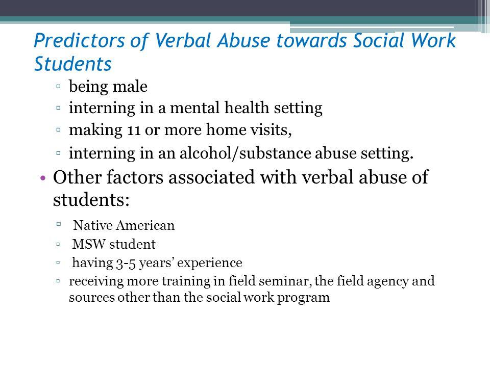 Predictors of Verbal Abuse towards Social Work Students