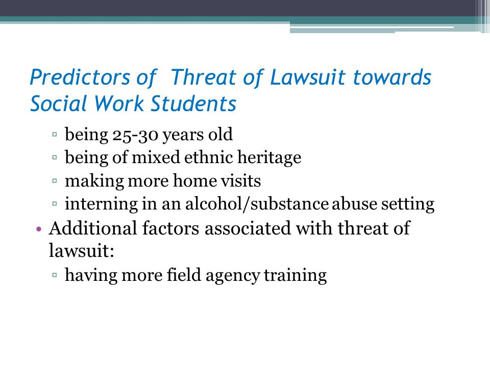 Predictors of Threat of Lawsuit towards Social Work Students