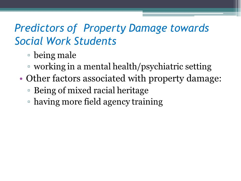 Predictors of Property Damage towards Social Work Students