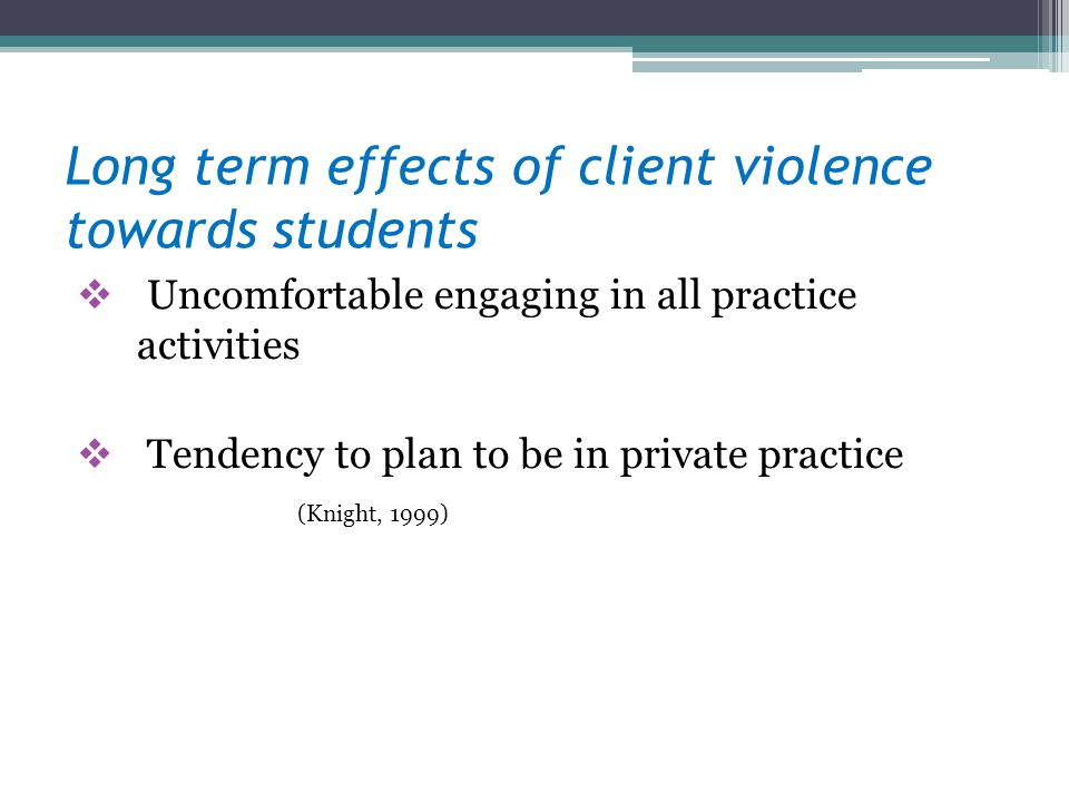 Long term effects of client violence towards students