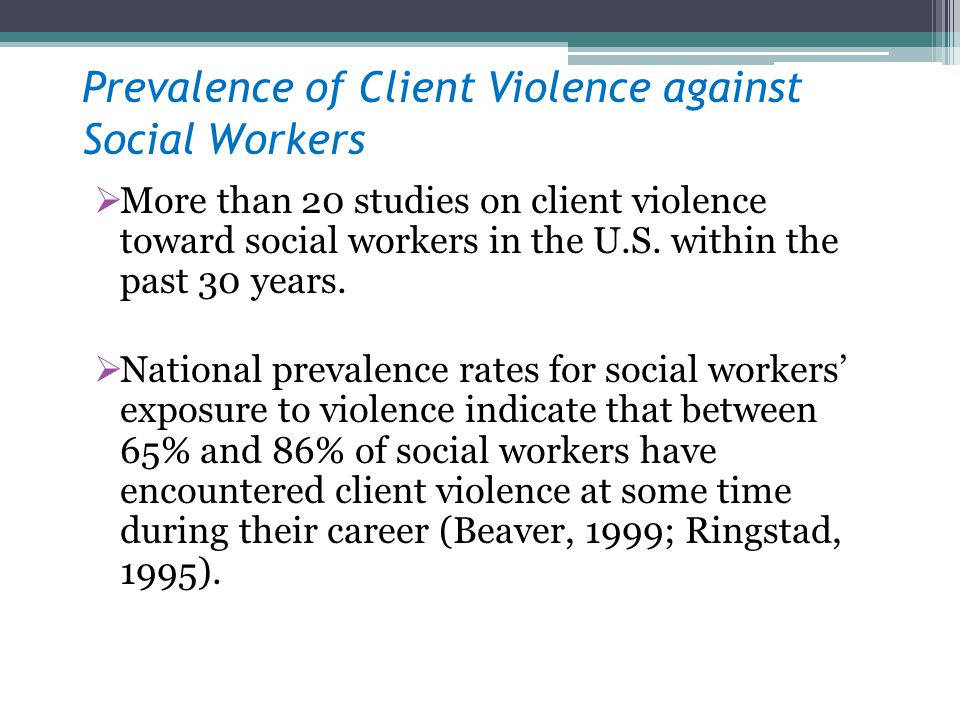 Prevalence of Client Violence against Social Workers