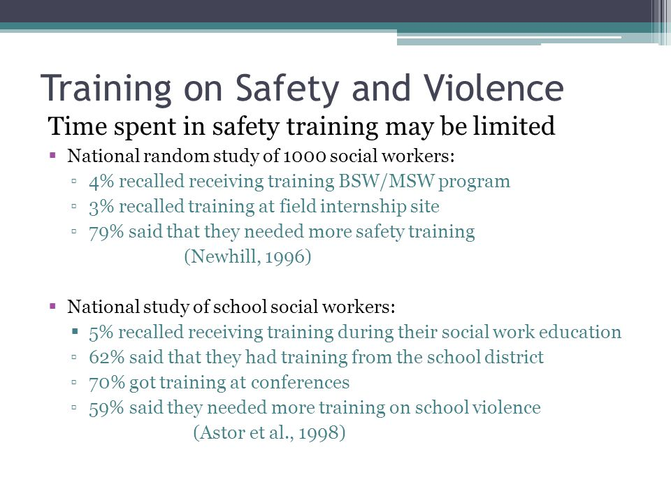 Training on Safety and Violence