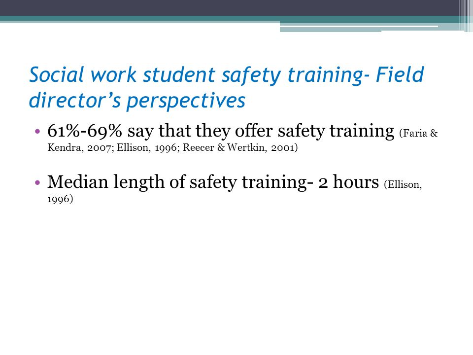 Social work student safety training- Field director's perspectives