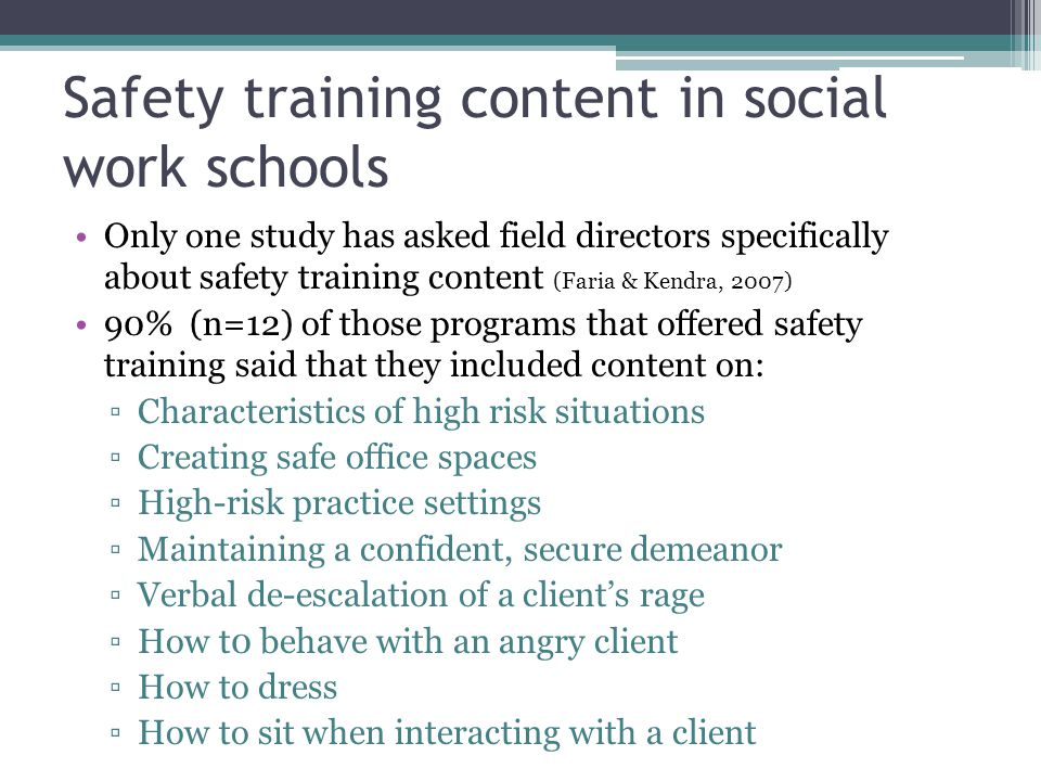 Safety training content in social work schools