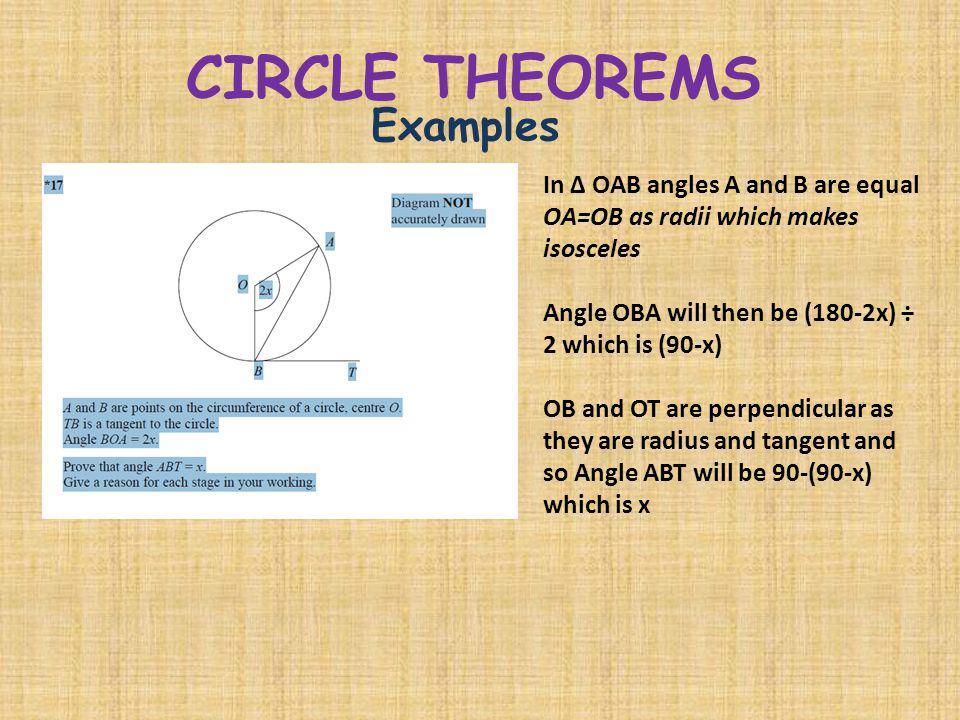 CIRCLE THEOREMS Examples In Δ OAB angles A and B are equal