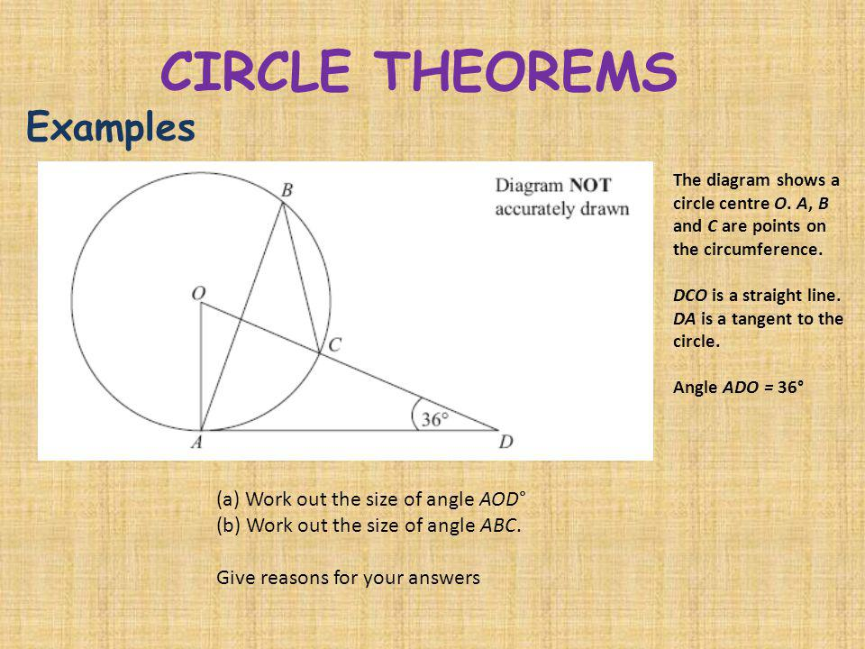 CIRCLE THEOREMS Examples (a) Work out the size of angle AOD°