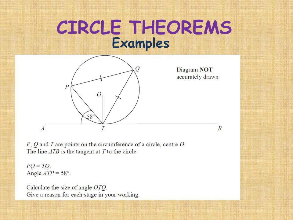CIRCLE THEOREMS Examples