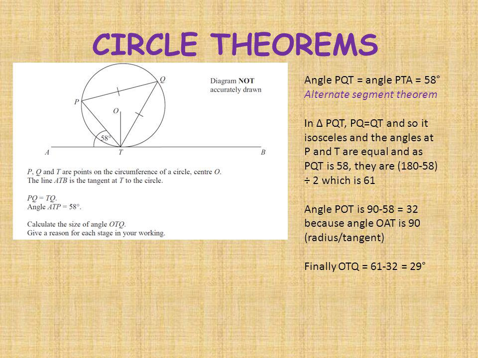 CIRCLE THEOREMS Angle PQT = angle PTA = 58° Alternate segment theorem