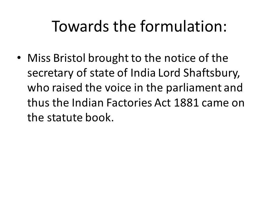 Towards the formulation:
