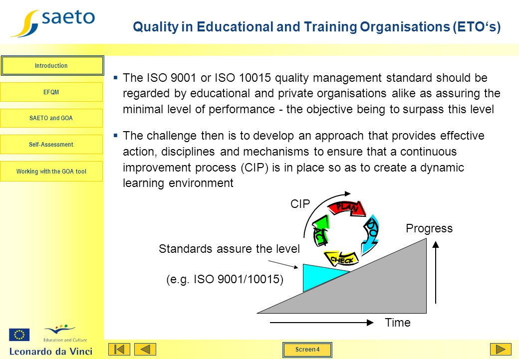 Quality in Educational and Training Organisations (ETO's)