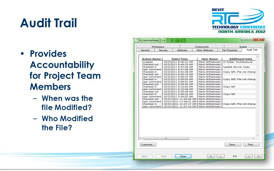 Audit Trail Provides Accountability for Project Team Members