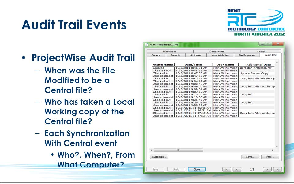 Audit Trail Events ProjectWise Audit Trail