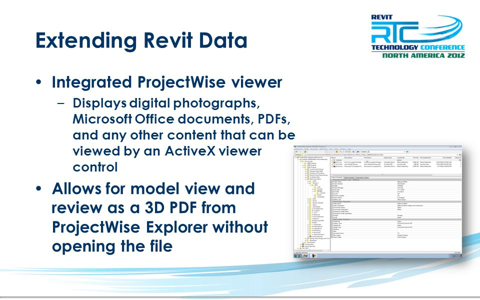 Extending Revit Data Integrated ProjectWise viewer