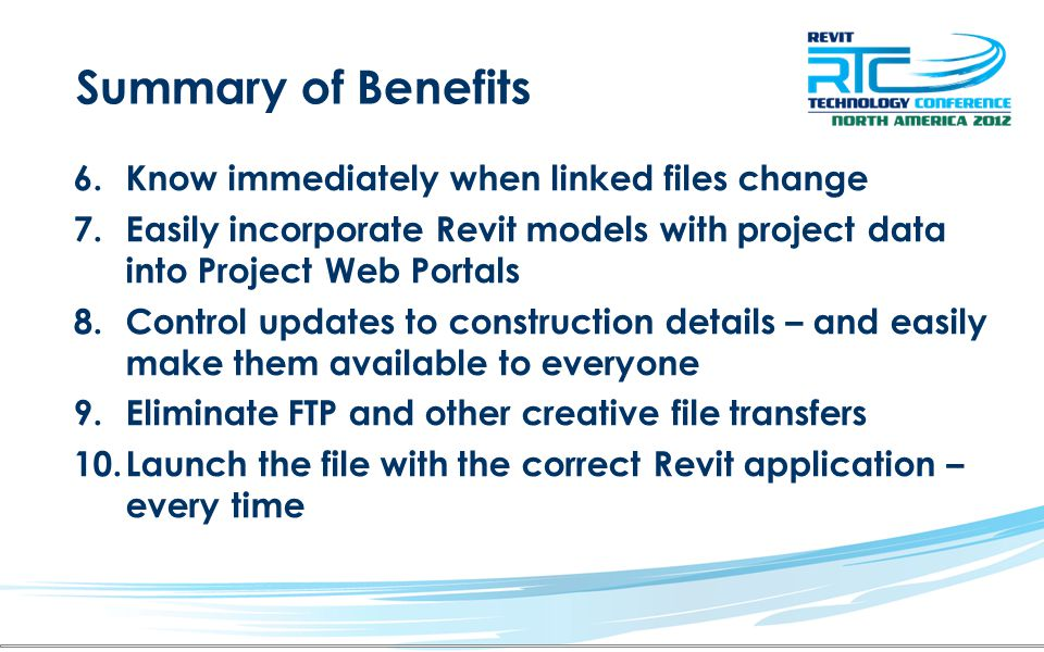 Summary of Benefits Know immediately when linked files change