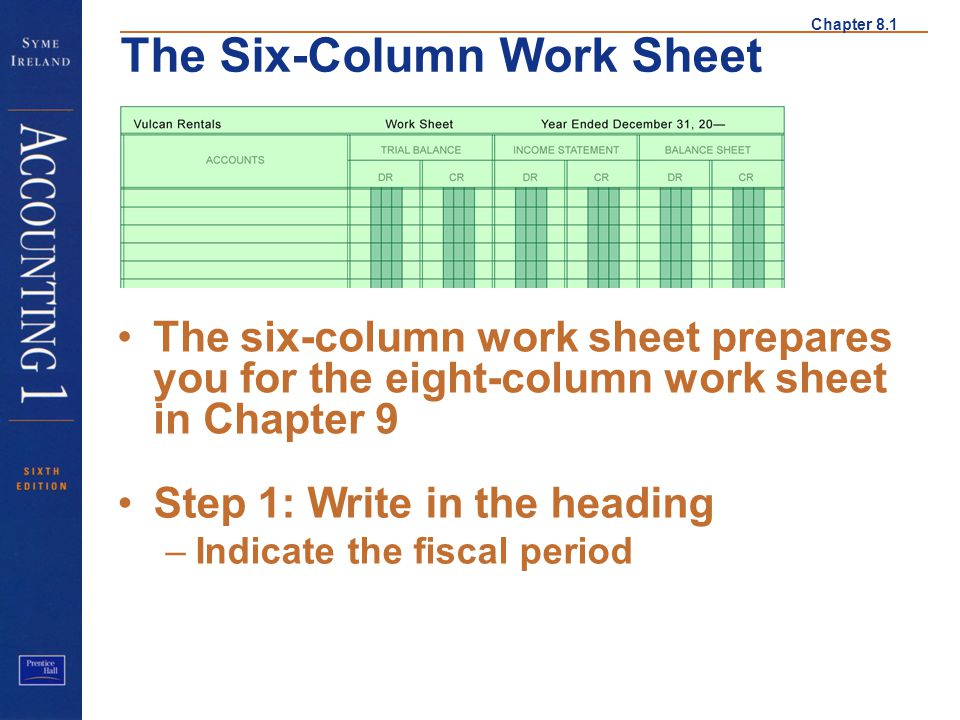 Step 1 The six-column work sheet prepares you for the eight-column work sheet in Chapter 9. Step 1: Write in the heading.