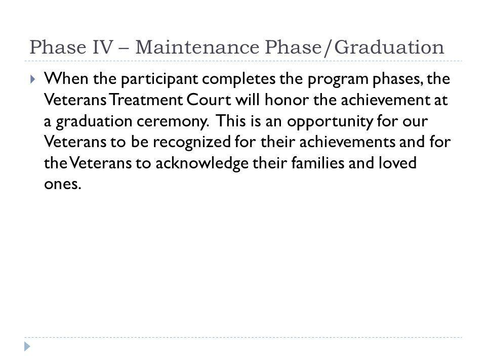 Phase IV – Maintenance Phase/Graduation