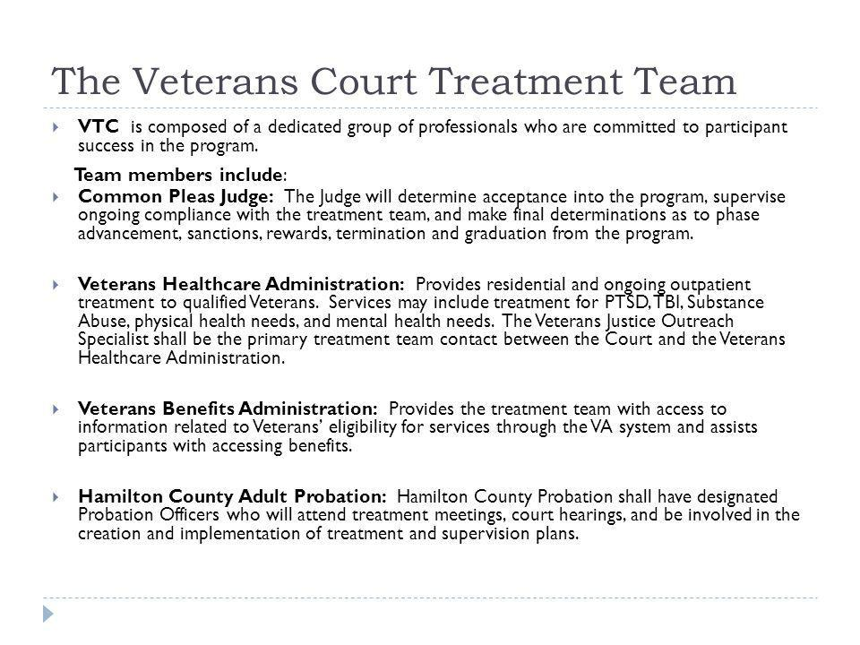The Veterans Court Treatment Team
