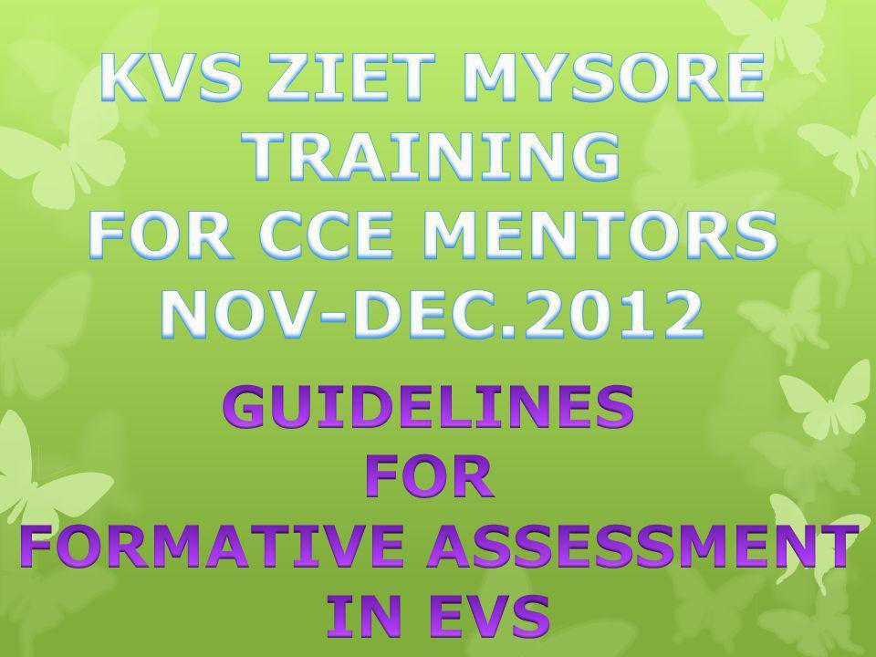 KVS ZIET MYSORE TRAINING FOR CCE MENTORS NOV-DEC.2012