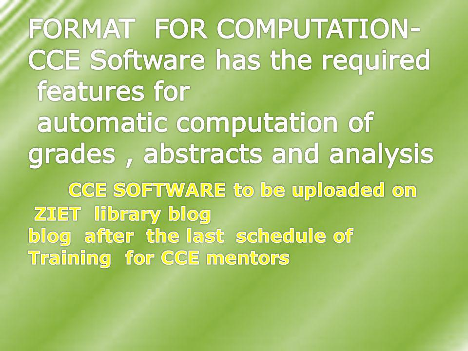 CCE SOFTWARE to be uploaded on
