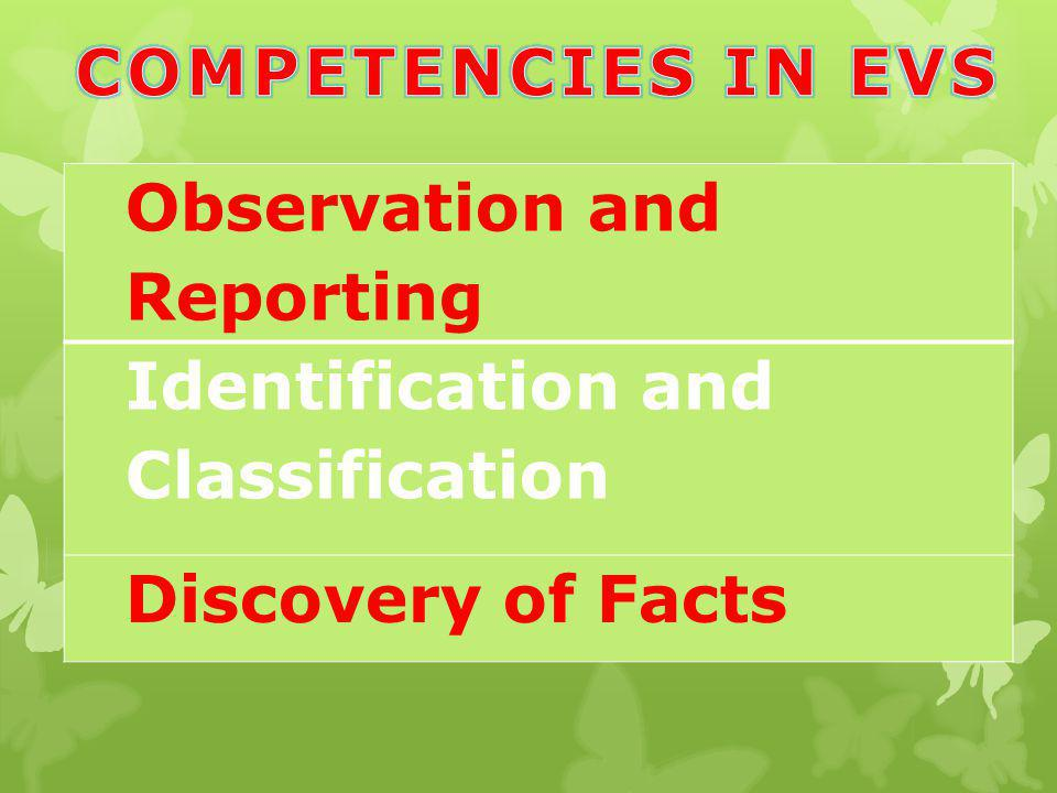 COMPETENCIES IN EVS Observation and Reporting Identification and Classification Discovery of Facts