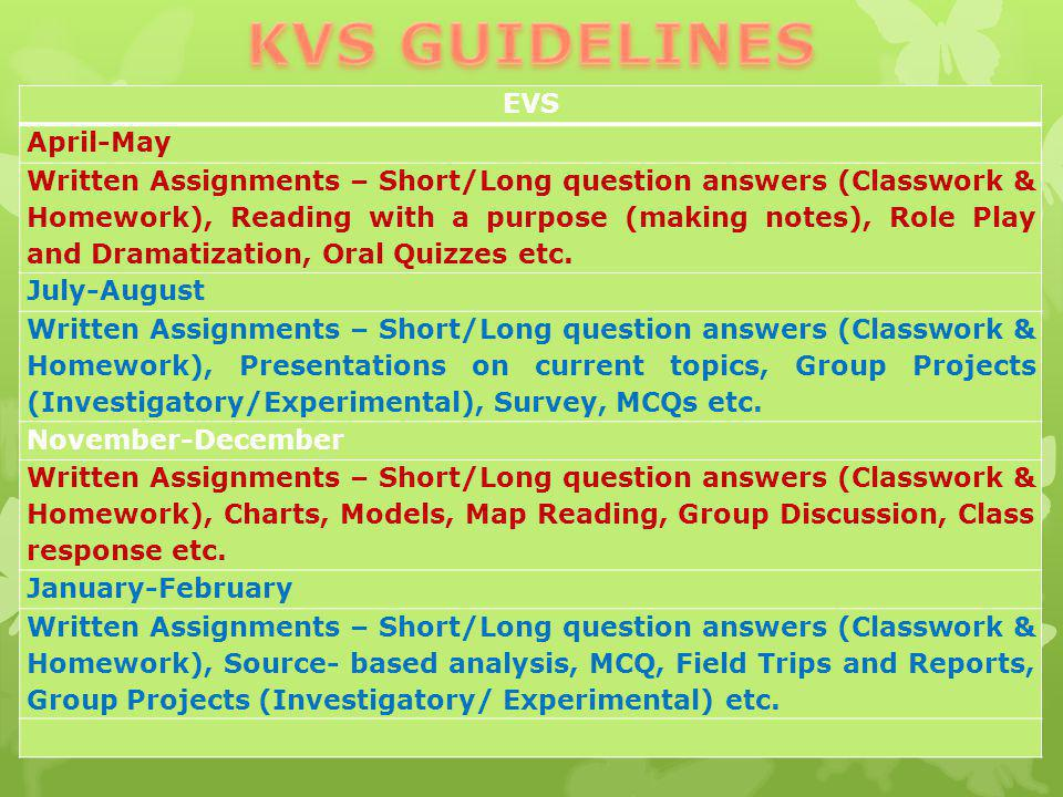KVS GUIDELINES EVS April-May