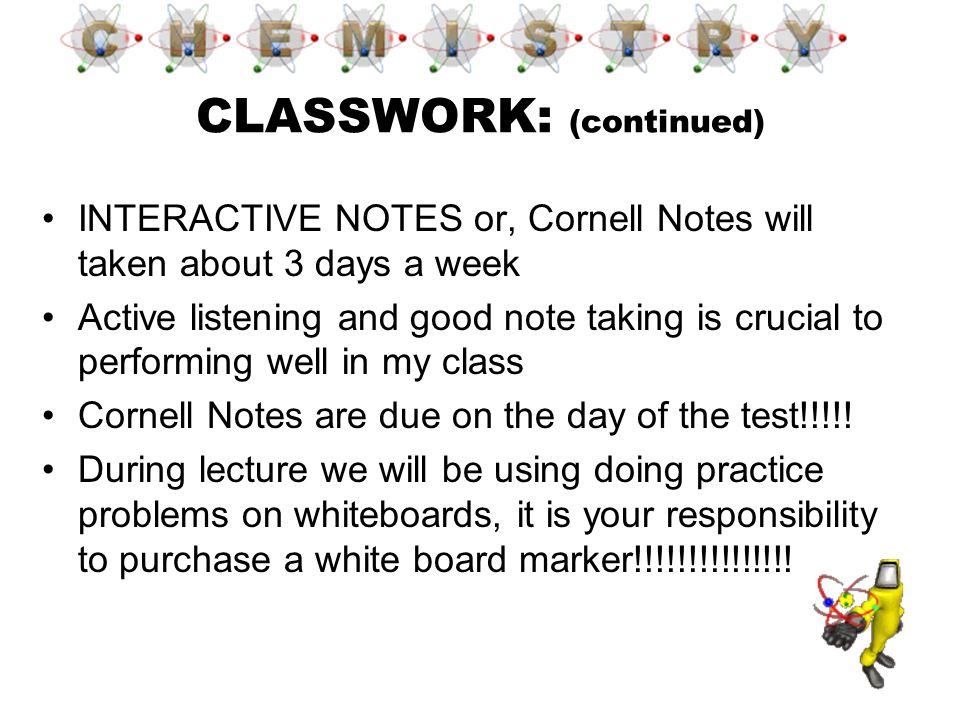 CLASSWORK: (continued)
