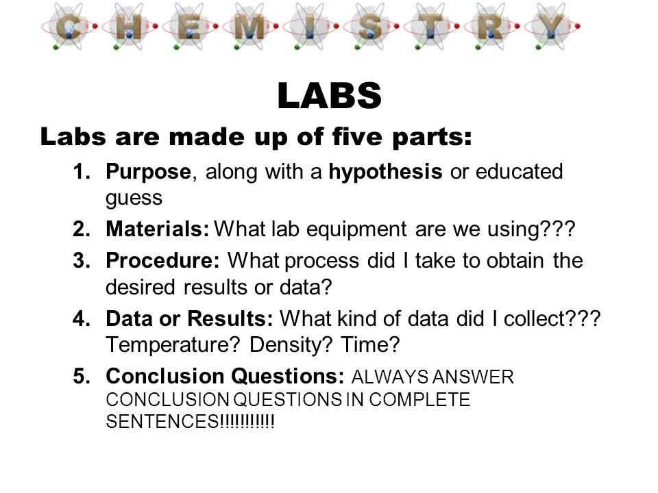 LABS Labs are made up of five parts: