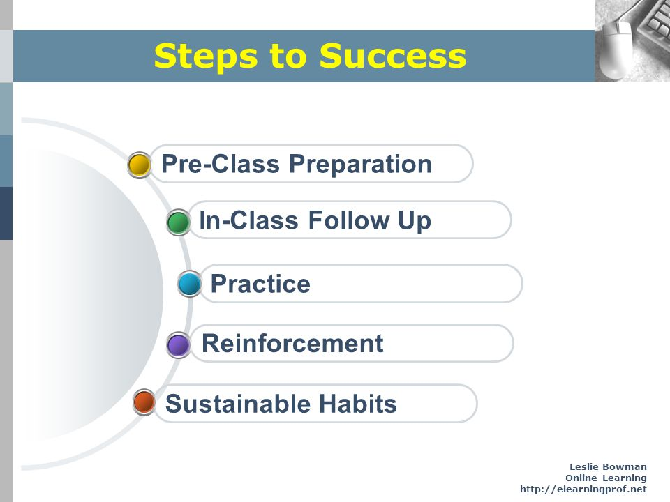 Steps to Success Pre-Class Preparation In-Class Follow Up Practice