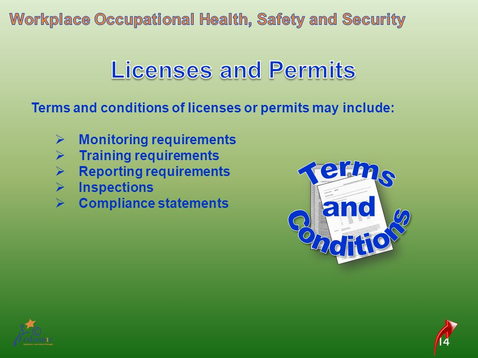 Licenses and Permits Terms and Conditions