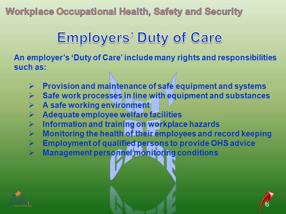 ohs obligations of employer and employee relationship