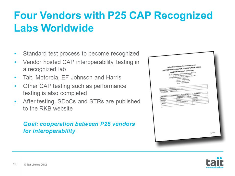 Four Vendors with P25 CAP Recognized Labs Worldwide