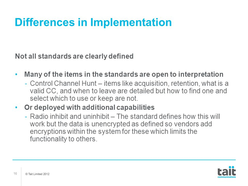 Differences in Implementation