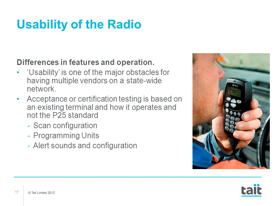 Usability of the Radio Differences in features and operation.