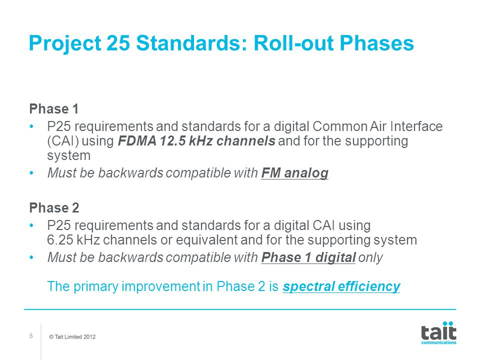 Project 25 Standards: Roll-out Phases