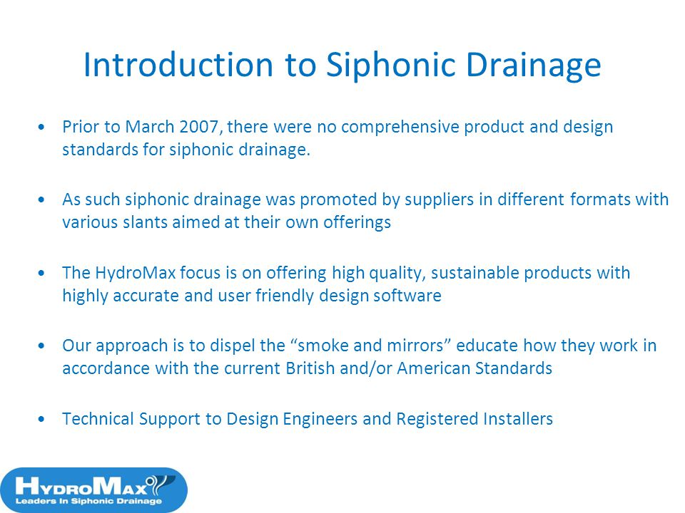 Introduction to Siphonic Drainage