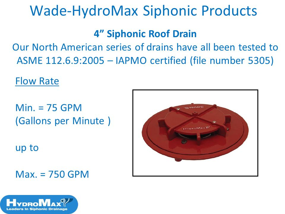 58 Wade HydroMax Siphonic Products 4u201d Siphonic Roof Drain ...