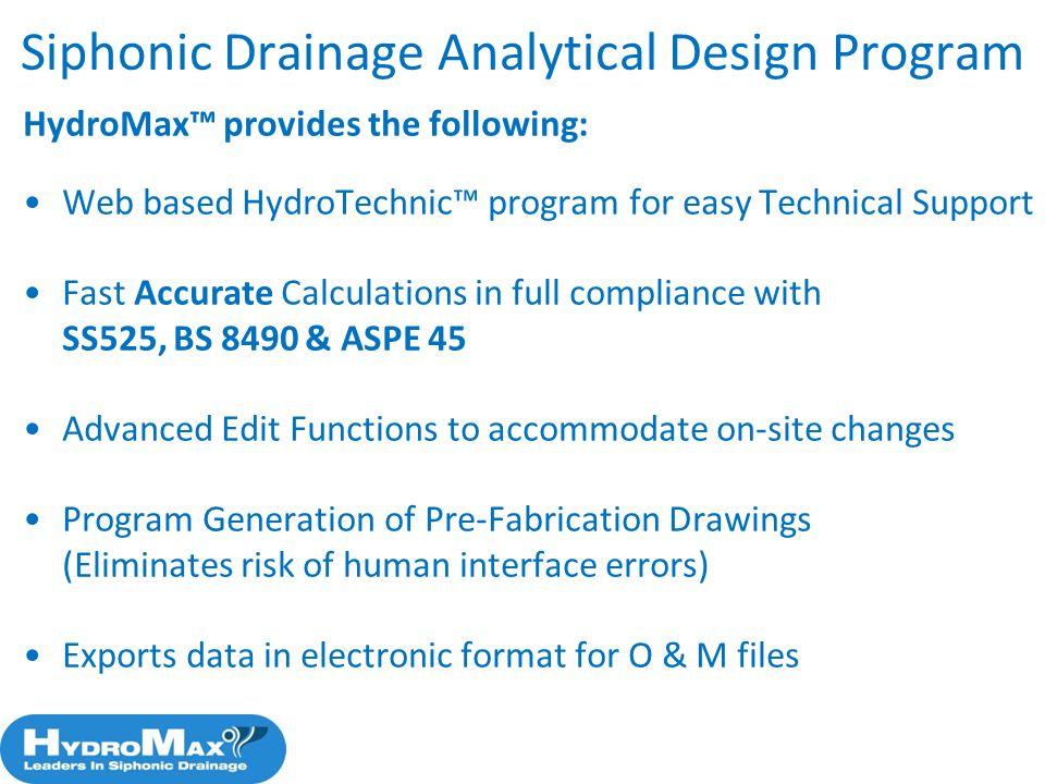 Siphonic Drainage Analytical Design Program