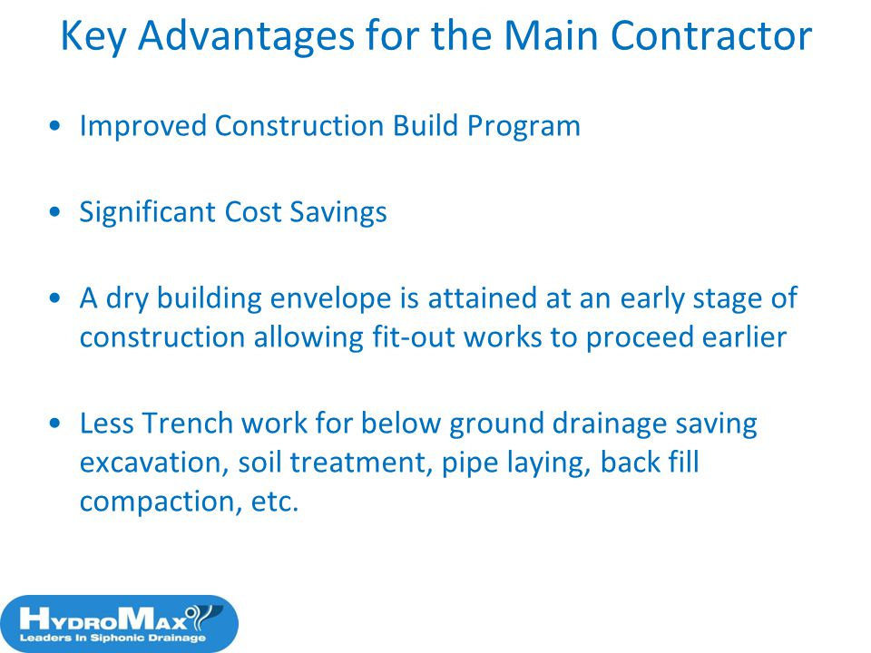 Key Advantages for the Main Contractor
