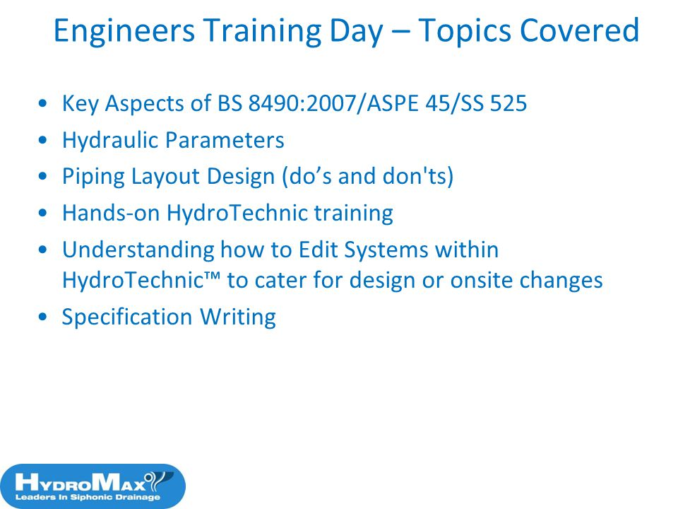 Engineers Training Day – Topics Covered