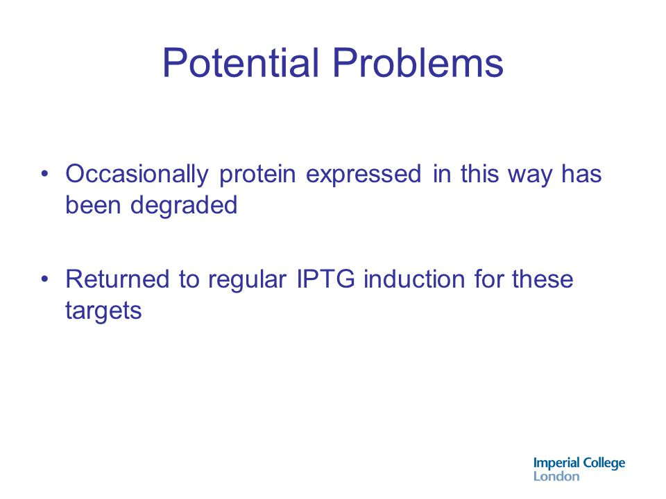 Potential Problems Occasionally protein expressed in this way has been degraded.