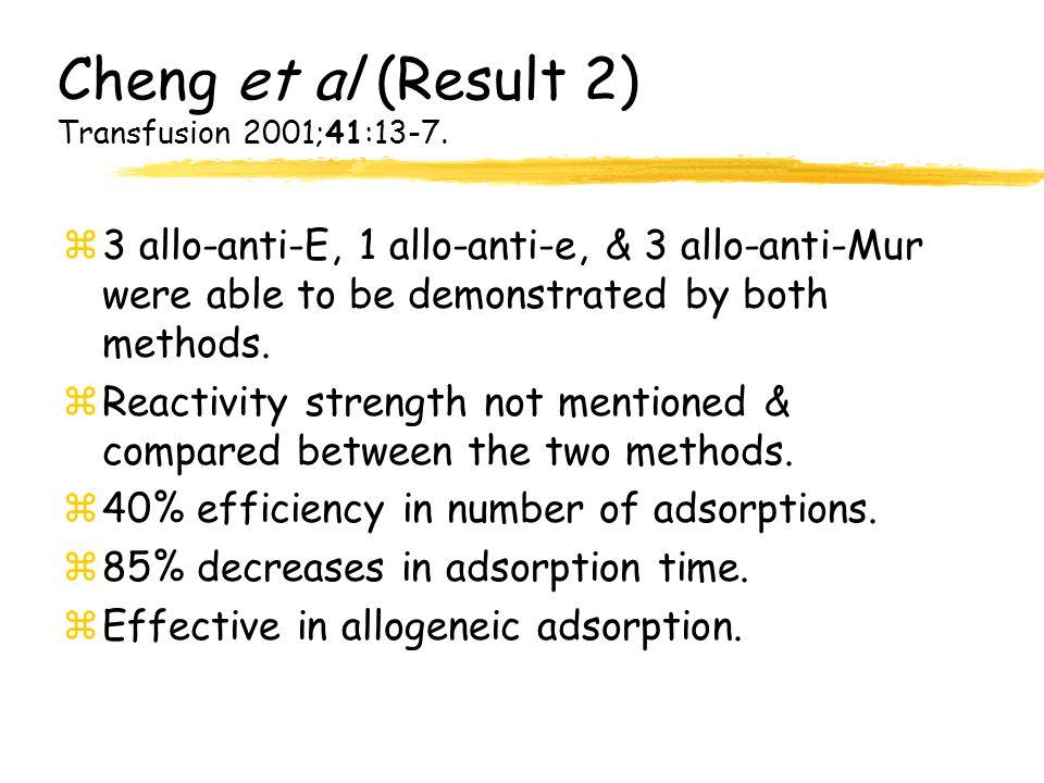 Cheng et al (Result 2) Transfusion 2001;41:13-7.