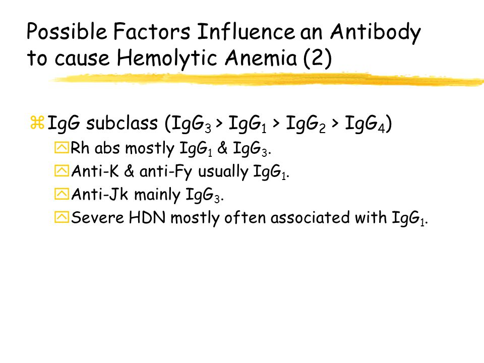 Possible Factors Influence an Antibody to cause Hemolytic Anemia (2)