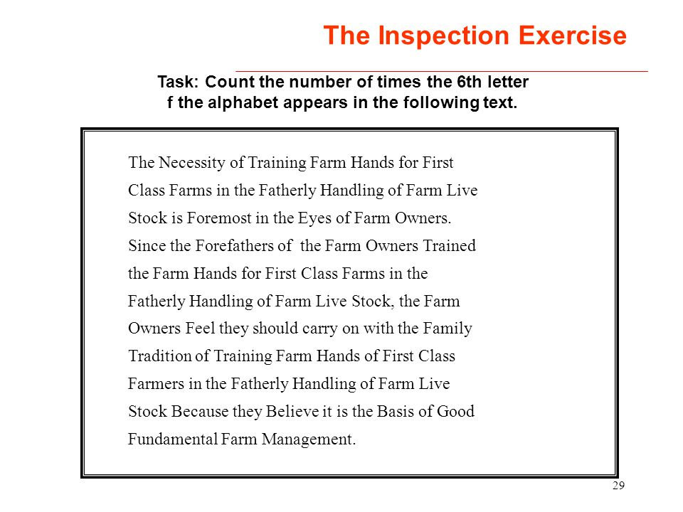 The Inspection Exercise