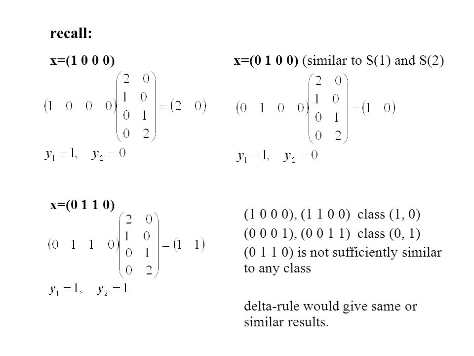 x=(1 0 0 0) x=(0 1 0 0) (similar to S(1) and S(2)