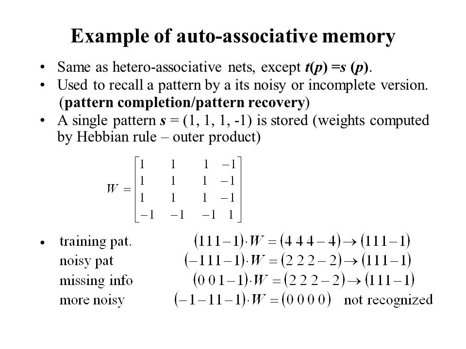 Example of auto-associative memory