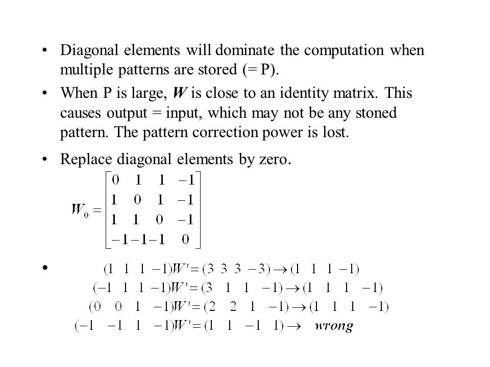 Diagonal elements will dominate the computation when multiple patterns are stored (= P).
